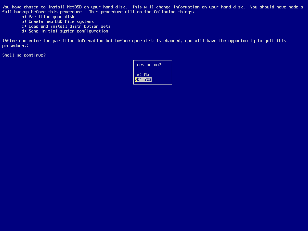 screenshot of sysinst asking for install confirmation