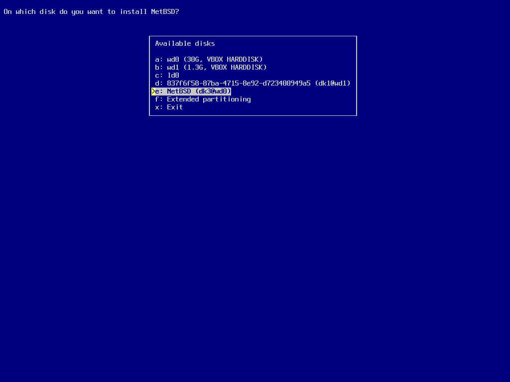 screenshot of sysinst selecting the target disk