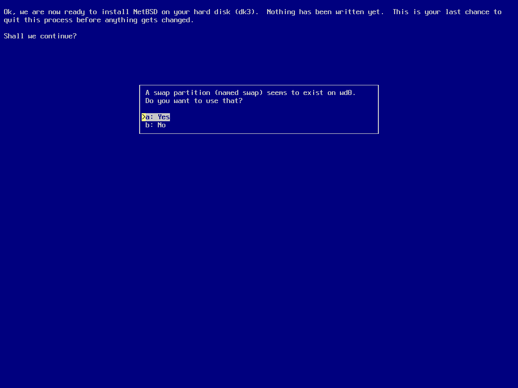 screenshot of sysinst offering the swap partition