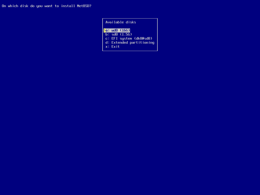 screenshot of sysinst disk selection