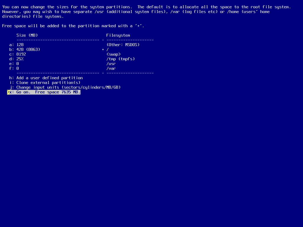 screenshot of sysinst partition size display